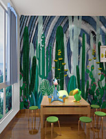 cheap -Custom Self-adhesive Mural Wallpaper Green Cactus Children's Cartoon Style Suitable For Room School Party home decoration