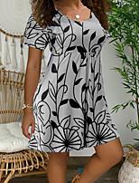 cheap -Women's A-Line Dress Knee Length Dress - Short Sleeves Floral Summer Casual 2020 Blue Purple Army Green Orange Gray Light Blue S M L XL XXL XXXL XXXXL XXXXXL