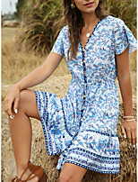 cheap -Women's Swing Dress Short Mini Dress - Short Sleeves Floral Print Spring Summer Casual 2020 Black Blue S M L XL