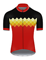 cheap -21Grams Men's Short Sleeve Cycling Jersey Nylon Polyester Black / Red Plaid Checkered Patchwork Bike Jersey Top Mountain Bike MTB Road Bike Cycling Breathable Quick Dry Ultraviolet Resistant Sports