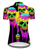 cheap -21Grams Women's Short Sleeve Cycling Jersey Nylon Polyester Violet Gradient Novelty Skull Bike Jersey Top Mountain Bike MTB Road Bike Cycling Breathable Quick Dry Ultraviolet Resistant Sports
