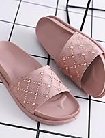 cheap -Women's Sandals Summer Flat Heel Open Toe Daily PVC White / Black / Pink