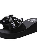 cheap -Women's Slippers & Flip-Flops Summer Platform Open Toe Daily PU Black / Silver / Rainbow