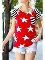 cheap -Women's T-shirt National Flag Round Neck Tops Summer Blue Red