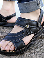 cheap -Men's Summer Casual / British Daily Outdoor Sandals Walking Shoes Leather Waterproof Height-increasing Black / Brown