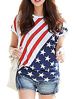 cheap -Women's T-shirt National Flag Round Neck Tops Summer White