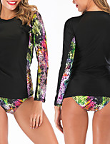 cheap -Women's Rashguard Swimsuit Elastane Swimwear Breathable Quick Dry Long Sleeve 2-Piece - Swimming Water Sports 3D Print Summer / Stretchy