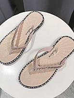 cheap -Women's Slippers & Flip-Flops Summer Flat Heel Open Toe Daily PVC Black / Gold