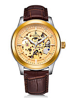 cheap -IK colouring Men's Mechanical Watch Automatic self-winding Genuine Leather Black / Brown Water Resistant / Waterproof Noctilucent Casual Watch Analog Casual Big Face - Golden / Brown Black+Gloden