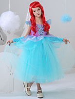cheap -The Little Mermaid Princess Flower Girl Dress Girls' Movie Cosplay A-Line Slip Blue Dress Carnival Children's Day Masquerade Polyester
