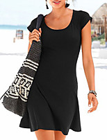 cheap -Women's A-Line Dress Short Mini Dress - Short Sleeves Solid Color Summer Work 2020 Black S M L XL XXL