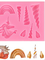 cheap -Baking Mold Unicorn Silicone Mold Rainbow Dry Pez Fondant Chocolate Mold