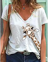 cheap -Women's T-shirt Animal Print V Neck Tops White Yellow Green