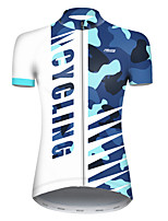 cheap -21Grams Women's Short Sleeve Cycling Jersey Nylon Polyester Blue / White Patchwork Camo / Camouflage Bike Jersey Top Mountain Bike MTB Road Bike Cycling Breathable Quick Dry Ultraviolet Resistant