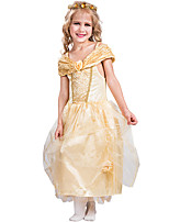cheap -Princess Belle Flower Girl Dress Girls' Movie Cosplay A-Line Slip Golden Dress Carnival Children's Day Masquerade Polyester