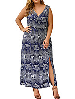 cheap -Women's Strap Dress Maxi long Dress - Sleeveless Print Fall Elegant Sexy 2020 White Royal Blue XL XXL XXXL XXXXL