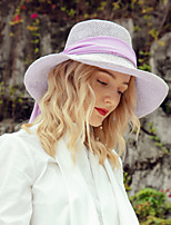 cheap -Headwear Casual Natural Fiber Hats with Ribbons 1pc Casual / Daily Wear Headpiece