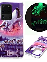 cheap -Case For Samsung Galaxy S20 S20 Plus S20 Ultra Glow in the Dark Pattern Back Cover Wolf TPU for Galaxy A21 A11 A01 A70E A51 A71
