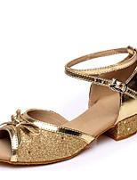 cheap -Women's Girls' Dance Shoes Latin Shoes Heel Glitter Thick Heel Fuchsia / Blue / Gold / Performance / Leather