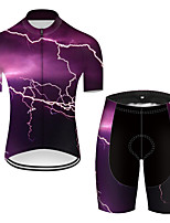 Недорогие -21Grams Муж. С короткими рукавами Велокофты и велошорты Нейлон Полиэстер Фиолетовый 3D Lightning Градиент Велоспорт Наборы одежды Дышащий 3D / Эластичная / Горные велосипеды / Шоссейные велосипеды