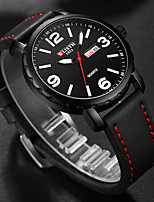 cheap -WLISTH Men's Sport Watch Quartz Modern Style Stylish PU Leather Black 30 m Water Resistant / Waterproof Calendar / date / day Noctilucent Analog - Digital Casual Cool - Black Yellow Two Years Battery