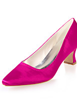 cheap -Women's Wedding Shoes Spring / Summer Block Heel Pointed Toe Minimalism Wedding Party & Evening Solid Colored Satin White / Black / Purple