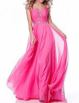 cheap -A-Line Elegant Engagement Formal Evening Dress Scoop Neck Sleeveless Floor Length Chiffon with Pleats Sequin 2020