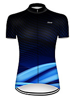 cheap -21Grams Women's Short Sleeve Cycling Jersey Nylon Polyester Black / Blue 3D Stripes Gradient Bike Jersey Top Mountain Bike MTB Road Bike Cycling Breathable Quick Dry Ultraviolet Resistant Sports