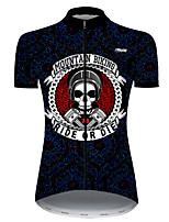 cheap -21Grams Women's Short Sleeve Cycling Jersey Nylon Polyester Black / White Skull Funny Bike Jersey Top Mountain Bike MTB Road Bike Cycling Breathable Quick Dry Ultraviolet Resistant Sports Clothing