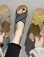 cheap -Women's Slippers & Flip-Flops Summer Flat Heel Open Toe Daily Canvas Black / Yellow / Khaki
