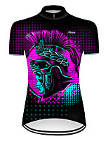 cheap -21Grams Women's Short Sleeve Cycling Jersey Nylon Polyester Black / Red 3D Novelty Skull Bike Jersey Top Mountain Bike MTB Road Bike Cycling Breathable Quick Dry Ultraviolet Resistant Sports Clothing