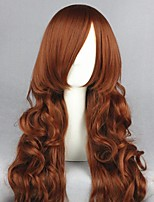 cheap -Cosplay Wig Jade Stern Rozen Maiden Curly Cosplay Halloween With Bangs Wig Long Brown Synthetic Hair 35 inch Women's Anime Cosplay Elastic Brown