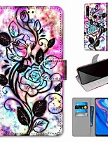 cheap -Case For Huawei Huawei P20 Pro / Huawei P20 lite / Huawei P30 Wallet / Card Holder / with Stand Full Body Cases Flower PU Leather / TPU