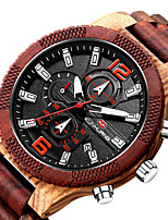 cheap -Men's Sport Watch Quartz Modern Style Stylish Casual Calendar / date / day Wood Analog - Black+Gloden Red Brown / Noctilucent