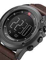 cheap -Men's Sport Watch Digital Modern Style Stylish Genuine Leather Water Resistant / Waterproof Alarm Clock Noctilucent Digital Casual Outdoor - Black Brown Coffee