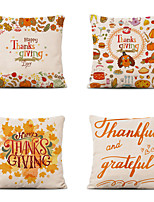 cheap -Set of 4 Farm Harvest Thanksgiving Theme Pillow Case Cushion Cover Lemon Summer Linen Home 18x18
