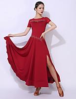 cheap -Ballroom Dance Dress Split Split Joint Crystals / Rhinestones Women's Performance Short Sleeve Elastane Polyester