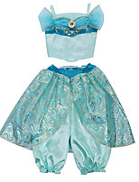 cheap -Princess Princess Jasmine Dress Flower Girl Dress Girls' Movie Cosplay Blue Top Pants Carnival Children's Day Masquerade Polyester