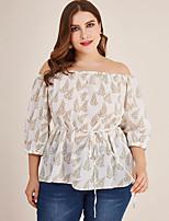 cheap -Women's Blouse Plus Size Geometric Tops Off Shoulder Daily Summer Fall White 2XL 3XL