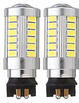 cheap -2PCS PW24W 33-SMD LED DRL Daytime Running Lights Replacement Fog Bulbs with Lens 12V 6500K White