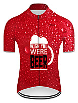 cheap -21Grams Men's Short Sleeve Cycling Jersey Nylon Polyester Red 3D Gradient Oktoberfest Beer Bike Jersey Top Mountain Bike MTB Road Bike Cycling Breathable Quick Dry Ultraviolet Resistant Sports