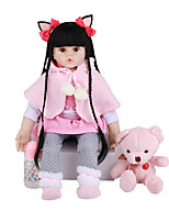 cheap -FeelWind 24 inch Reborn Doll Baby & Toddler Toy Reborn Toddler Doll Baby Girl Gift Cute Lovely Parent-Child Interaction Tipped and Sealed Nails 3/4 Silicone Limbs and Cotton Filled Body LV0108 with