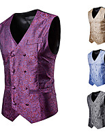 cheap -Plague Doctor Vintage Gothic Steampunk Masquerade Vest Waistcoat Men's Jacquard Costume Purple / Camel / LightBlue Vintage Cosplay Event / Party Sleeveless