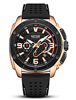 cheap -MEGIR Men's Sport Watch Quartz Modern Style Sporty Silicone Black 30 m Calendar / date / day Chronograph New Design Analog Fashion Cool - Black+Gloden Black Black / White Two Years Battery Life