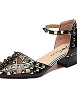 cheap -Women's Heels / Sandals Summer Block Heel Pointed Toe Daily PU Black / Red / Beige