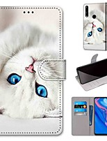 cheap -Case For Huawei P40 Huawei P40 Pro Huawei P40 lite E Wallet Card Holder with Stand Full Body Cases White Cat PU Leather TPU for Huawei Mate 30 Lite Honor 10 Lite Honor 9A