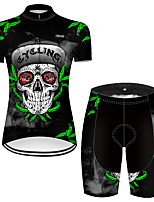 cheap -21Grams Women's Short Sleeve Cycling Jersey with Shorts Nylon Polyester Black / Green Novelty Leaf Skull Bike Clothing Suit Breathable 3D Pad Quick Dry Ultraviolet Resistant Reflective Strips Sports