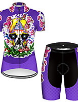 cheap -21Grams Women's Short Sleeve Cycling Jersey with Shorts Nylon Polyester Violet Novelty Skull Floral Botanical Bike Clothing Suit Breathable 3D Pad Quick Dry Ultraviolet Resistant Reflective Strips