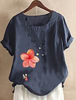 cheap -Women's T-shirt Graphic Tops Round Neck Daily Summer Blue Red Yellow M L XL 2XL 3XL 4XL 5XL