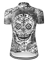 cheap -21Grams Women's Short Sleeve Cycling Jersey Nylon Polyester Grey Novelty Skull Floral Botanical Bike Jersey Top Mountain Bike MTB Road Bike Cycling Breathable Quick Dry Ultraviolet Resistant Sports